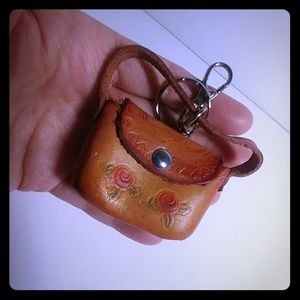 Hand Tooled Miniature Leather Purse Keychain